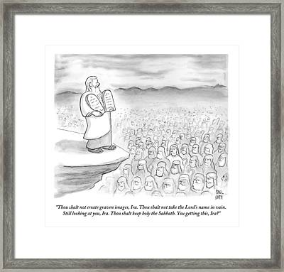 Moses Recites The Ten Commandments To An Audience Framed Print
