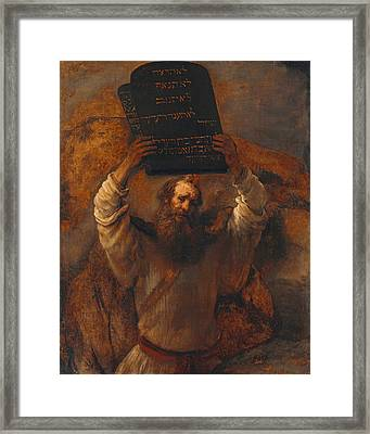 Moses Smashing The Tablets Of The Law Framed Print by Rembrandt