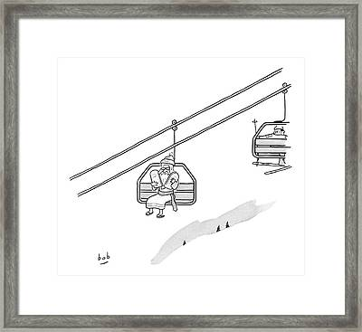 Moses Travels Down A Mountain On A Ski-lift Framed Print by Bob Eckstein