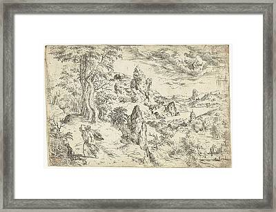 Moses With The Tablets Of The Law, Hieronymus Cock Framed Print