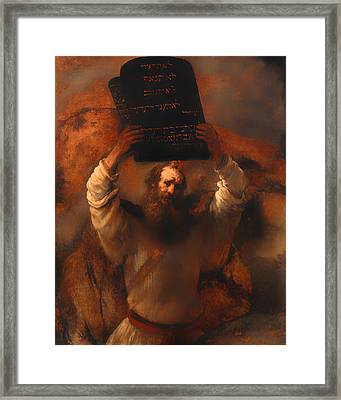 Moses With The Ten Commandments  Framed Print