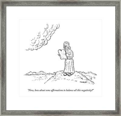Moses, With The Ten Commandments, Speaks Framed Print