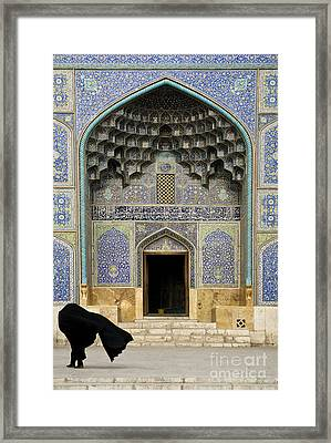 Mosque Door In Isfahan Esfahan Iran Framed Print