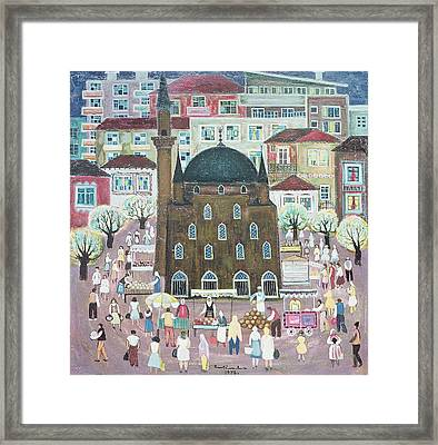 Mosque In Razgrad, 1972 Oil On Canvas Framed Print