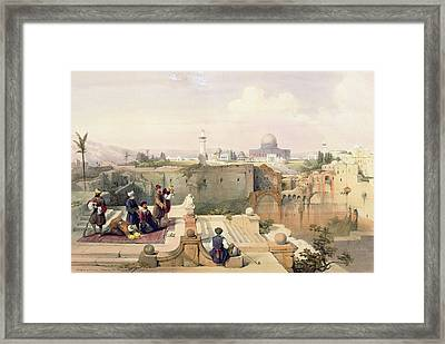 Mosque Of Omar Showing The Site Of The Temple, Plate 8 From Volume I Of The Holy Land  Framed Print by David Roberts