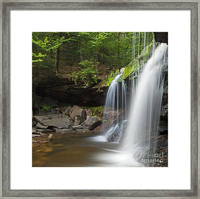Mossy Green Spring Wilderness Waterfall Plunge Framed Print by John Stephens