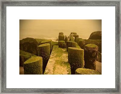 Mossy Jetty - Jersey Shore Framed Print by Angie Tirado