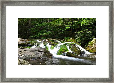 Mossy Mountain Falls Framed Print by Frozen in Time Fine Art Photography