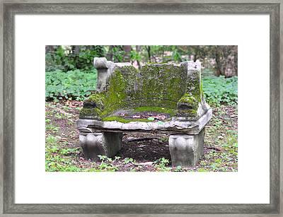 Mossy Stone Bench Framed Print