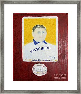 Framed Print featuring the painting Most Expensive Card T206 Honus Wagner And Signed Baseball by Richard W Linford