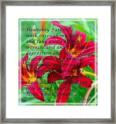 Most Powerful Prayer With Daylilies Framed Print