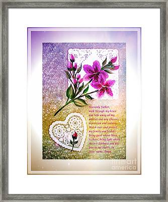 Most Powerful Prayer With Doilies And Lilies Framed Print
