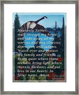 Most Powerful Prayer With Goose Flying And Autumn Scene Framed Print by Barbara Griffin