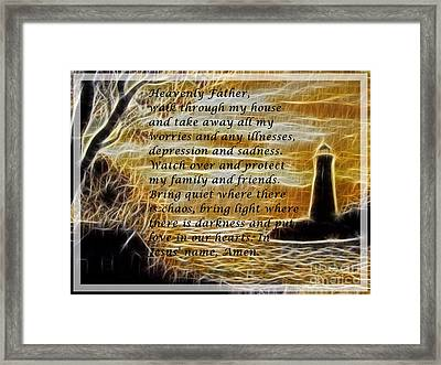 Most Powerful Prayer With Lighthouse Scene Framed Print by Barbara Griffin
