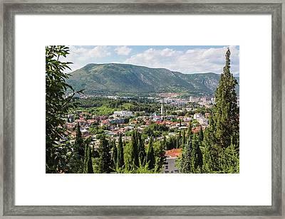 Mostar, Bosnia And Herzegovina. Overall Framed Print by Ken Welsh