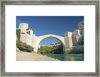 Mostar Bridge In Bosnia Framed Print