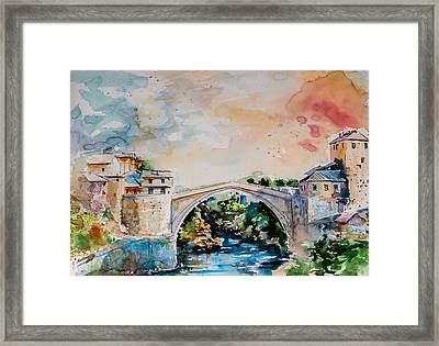 Mostar Bridge Framed Print by Kovacs Anna Brigitta
