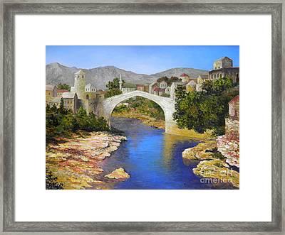 Mostar Bridge Framed Print by Lou Ann Bagnall