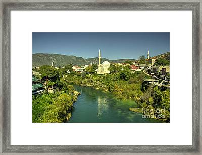 Mostar River And Mosque  Framed Print by Rob Hawkins