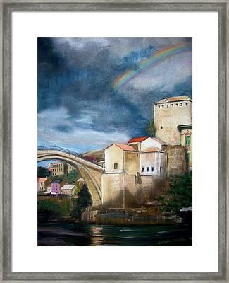 Mostar Stari Most Framed Print by Sibella Talic
