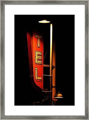 Framed Print featuring the photograph Motel Sign At Night by Daniel Woodrum