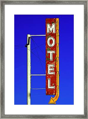 Framed Print featuring the photograph Motel Sign On Route 66 by Daniel Woodrum