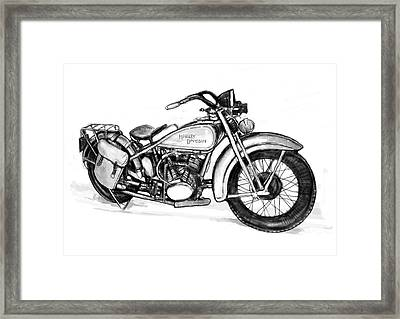 Motercycle  Drawing Art Sketch - 1 Framed Print by Kim Wang