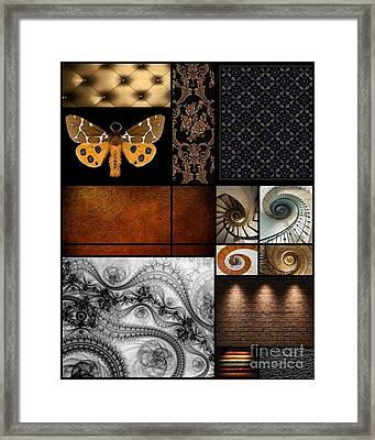 Moth And Royal Fabric Collage Framed Print