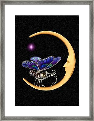 Moth On Moon Framed Print