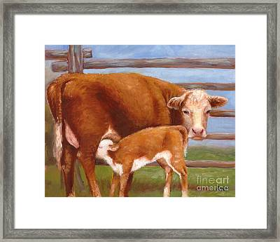 Mother And Baby Cow Framed Print
