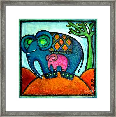 Mother And Baby Elephant One Footstep For Two Framed Print
