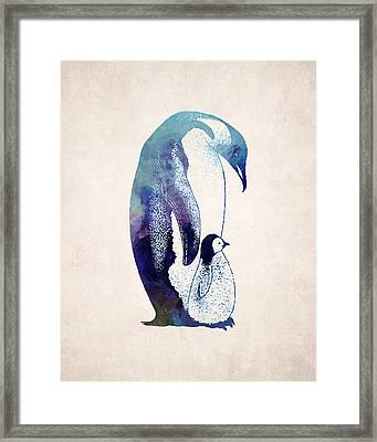 Mother And Baby Penguin Framed Print
