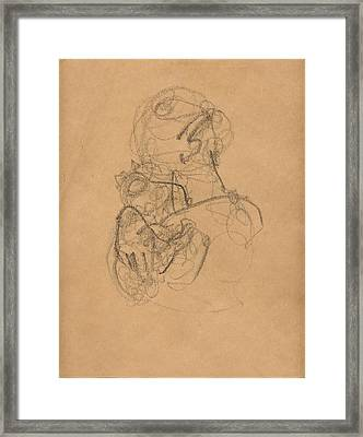 Mother And Baby With Bonnet Framed Print by Mary Adam