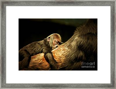 Mother And Child 20150210brun Framed Print by Wingsdomain Art and Photography