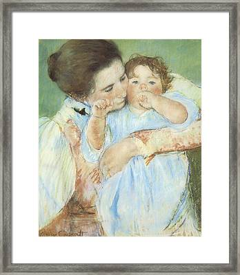 Mother And Child Against A Green Background Framed Print by Mary Cassatt