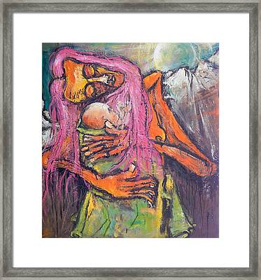 Mother And Child Before Landscape Framed Print by Kenneth Agnello