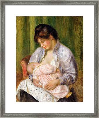 Mother And Child Framed Print by Pierre Auguste Renoir