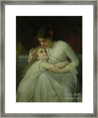 Mother And Child Framed Print by Emile Munier