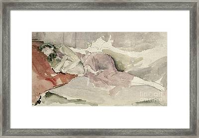 Mother And Child On A Couch Framed Print by James Abbott McNeill Whistler