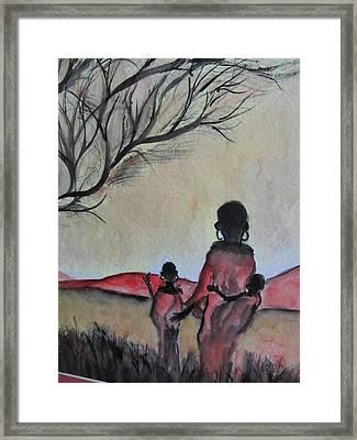Mother And Children Walking In Kenya Framed Print