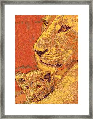 Mother And Cub Framed Print by Jane Schnetlage