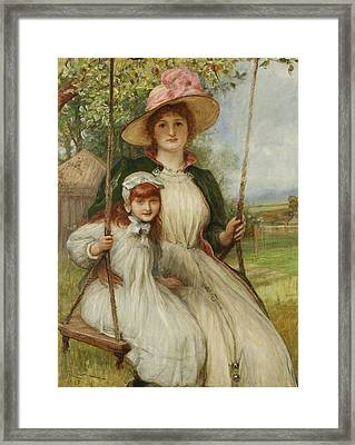 Mother And Daughter On A Swing Framed Print by Robert Walker Macbeth