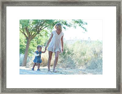 Mother And Daughter On Path Framed Print