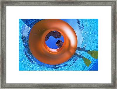 Mother And Daughter Snorkeling Framed Print by Carson Ganci