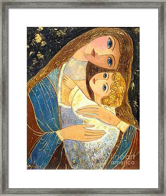 Mother And Golden Haired Child  Framed Print by Shijun Munns