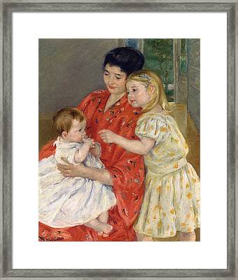 Mother And Sara Admiring The Baby Framed Print by Marry Cassatt