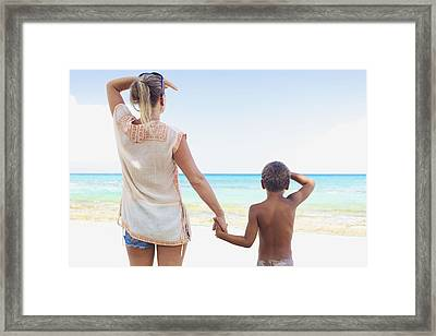 Mother And Son At Beach Framed Print by Kicka Witte