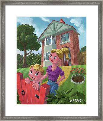Mother And Son In Garden Framed Print