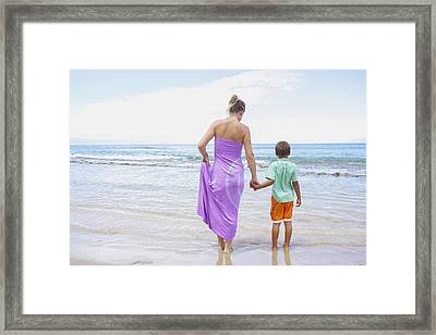 Mother And Son On Beach Framed Print by Kicka Witte