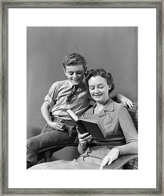 Mother And Son Reading, C.1930-40s Framed Print by H. Armstrong Roberts/ClassicStock